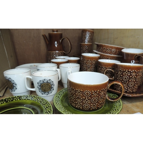 48 - A small quantity of Killrush ceramic breakfast ware in brown comprising coffee pot, coffee cups and ...