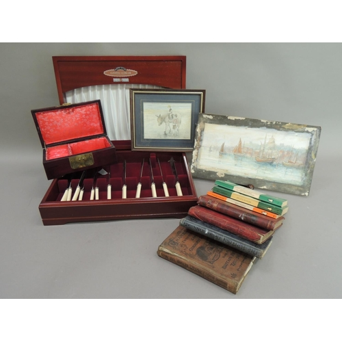 49 - A reproduction mahogany canteen by Cooper Ludlum containing  a quantity of table knives with ivorine...