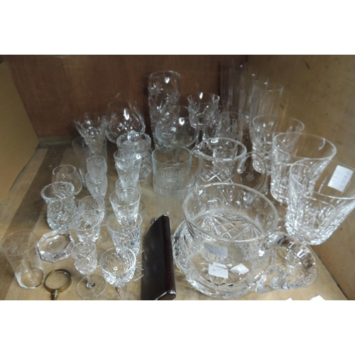 50 - A quantity of miscellaneous cut and other glass ware including champagnes, wines, liqueurs etc