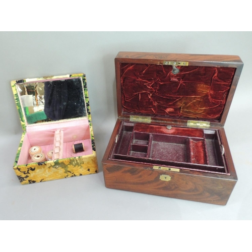 6 - A mid C19th figured mahogany work box, rectangular, the interior velvet, Moroccan leather lined with...