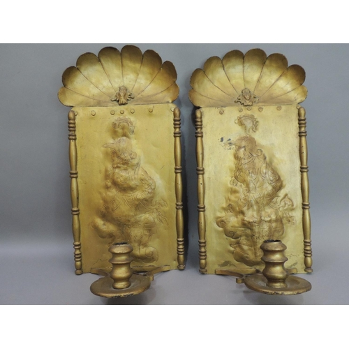 8 - A pair of late 19th century gold painted girandoles with shell tops the rectangular panels embossed ...