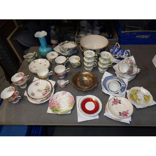 136 - Mixed lot of cups, saucers and other china ware inc Silver Plate Bowl