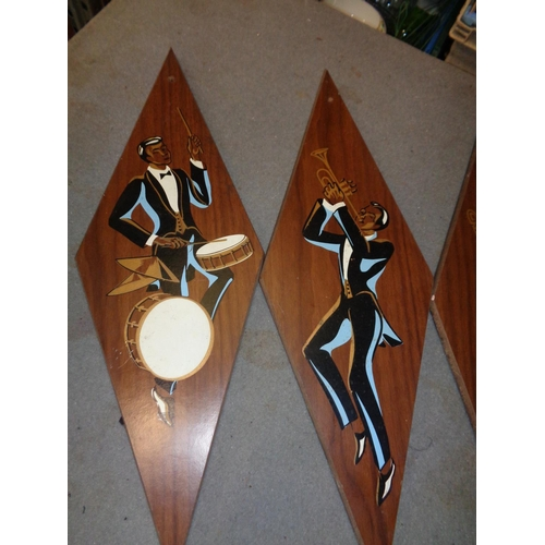141 - Art Deco Style Painted Signs x 4 (53 cm length)