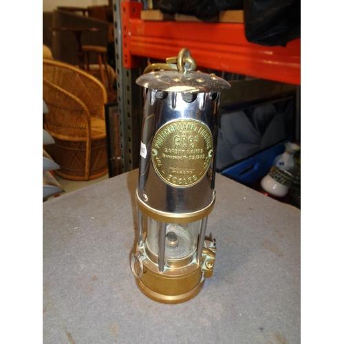 176 - Brass Miners Lamp (24cm Tall)