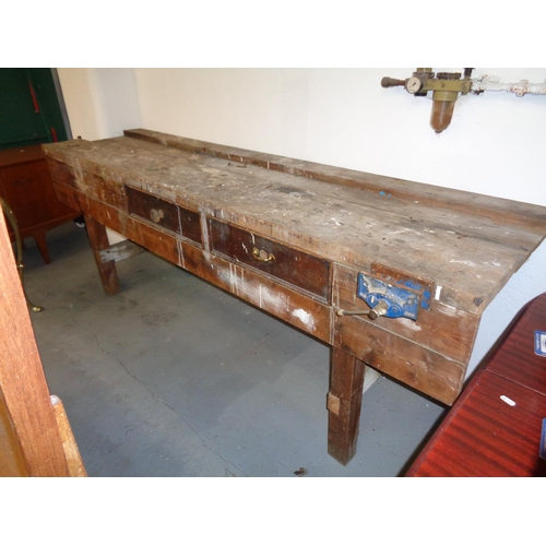 Large Wooden Work Bench with Record 50 Vice (292cm x 65cm x 85cm high)