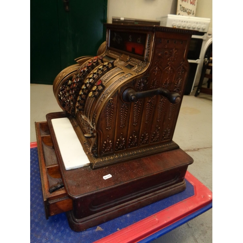 240 - Vintage Brass National Cash Register - originally owned by The Phillarmonic Pub in Liverpool. In ver...