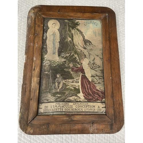 32 - Framed Bernadette Soubirous Tapestry c1880 - Depiction Of St Bernadette Witnessing The First Apparit...