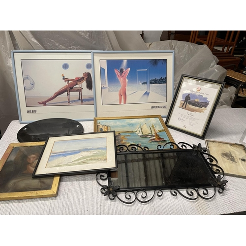 113 - ASSORTED PICTURE FRAMES & MIRROR