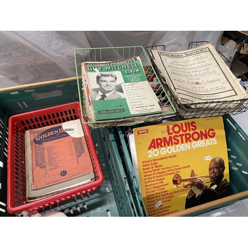 129 - 2 X CRATES OF LPS, 78s & VINTAGE SHEET MUSIC