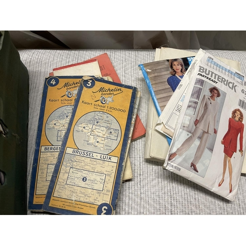 144 - ASSORTED RETRO ITEMS - BAGS, LPS & SEWING PATTERNS
