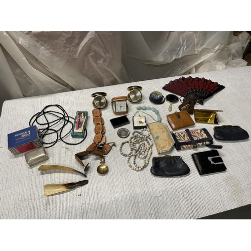145 - ASSORTED MISC ITEMS - PURSES, TRAVEL CLOCKS & COSTUME JEWELLERY