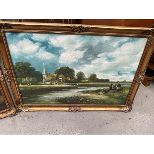 155 - 3 X LARGE HANDPAINTED PICTURES - FRAMED IN ORNATE GOLD FRAMES