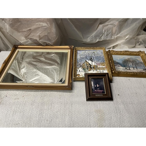 157 - SELECTION OF FRAMED PICTURES & MIRROR