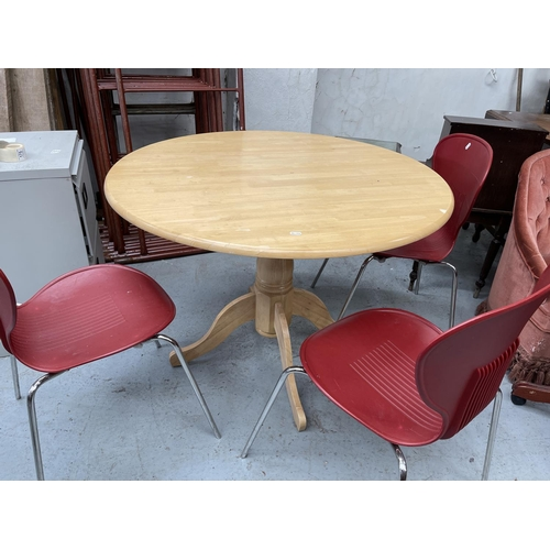 175 - CIRCULAR WOODEN DINING TABLE & 3 X CHAIRS