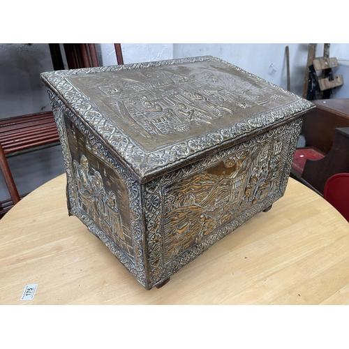 180 - BRASS BOX ON CASTORS