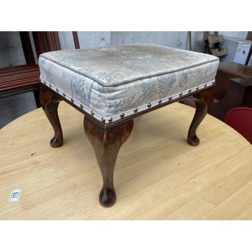 182 - WOODEN PADDED FOOTSTOOL
