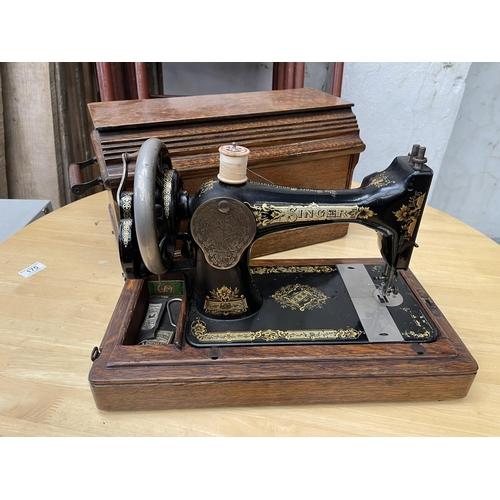 183 - VINTAGE SINGER SEWING MACHINE IN WOODEN CASE