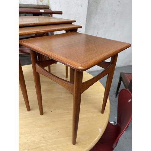 185 - DANISH MADE NEST OF TEAK SIDE TABLES