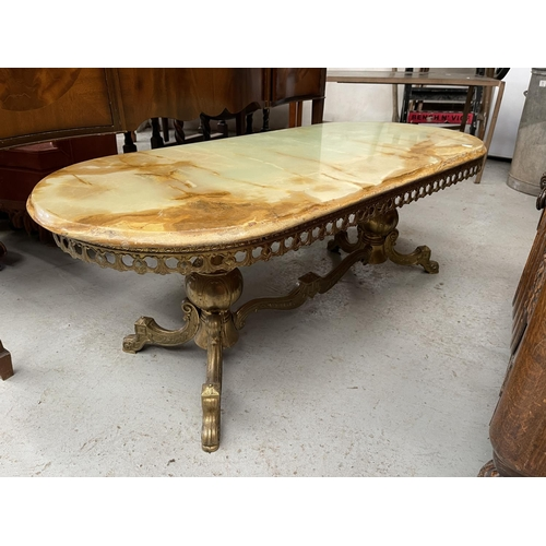 190 - VERY HEAVY METAL COFFEE TABLE WITH ONYX TOP
