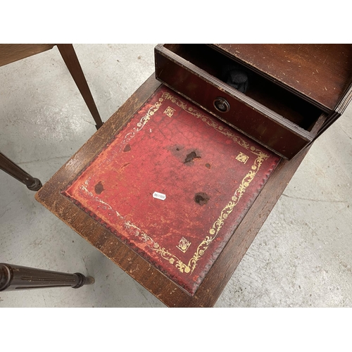 194 - RED LEATHER TOPPED HALL TABLE & TELEPHONE TABLE