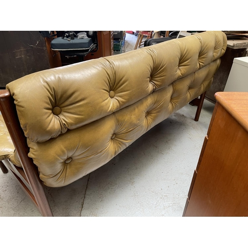 211 - 1960/70s GUY ROGERS WOOD & LEATHER 3 SEAT SOFA