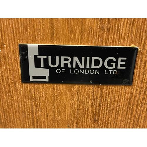 242 - VINTAGE TURNIDGE OF LONDON COCKTAIL CABINET ON CASTORS - INCLUDES ORIGINAL ACCESSORIES