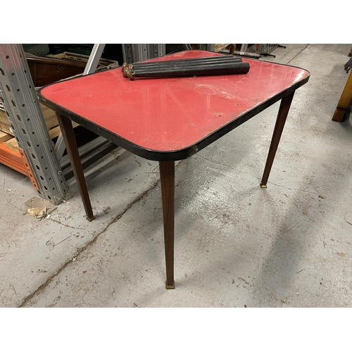 253 - 1960s RED TOPPED TABLE WITH INTERCHANGEABLE LEGS