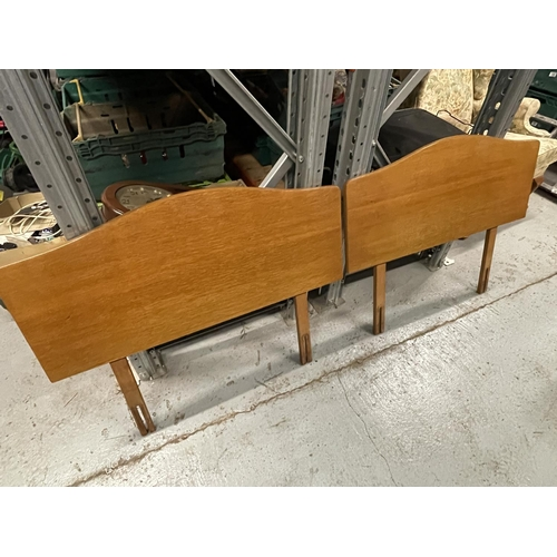 254 - 1960s PAIR OF MATCHING SINGLE WOODEN HEADBOARDS