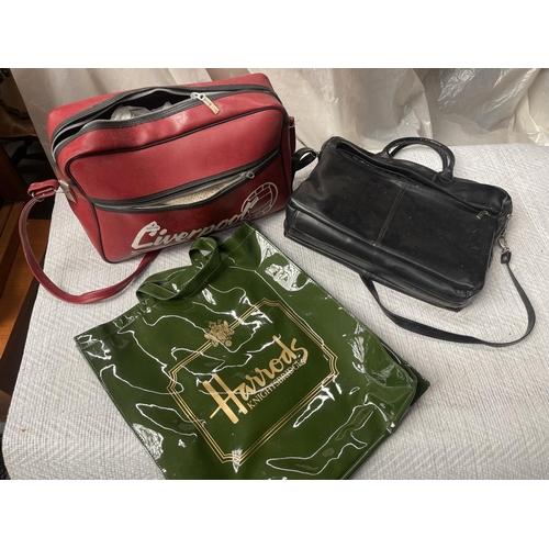 80 - 3 X RETRO BAGS - LIVERPOOL & HARRODS