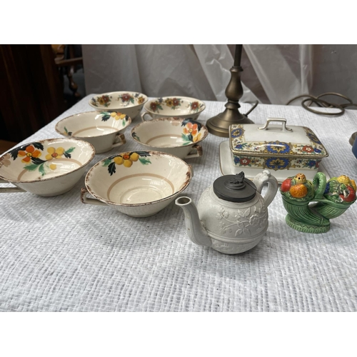 83 - ASSORTED ITEMS INC 2 X LAMPS, 6 X DISHES & BUTTER DISH