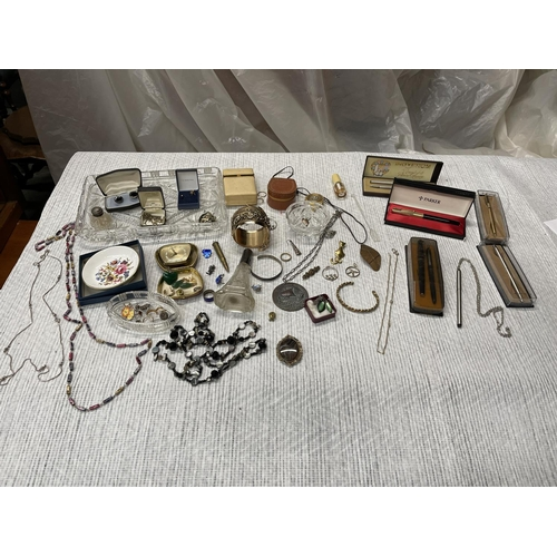 91 - LARGE JEWELLERY COLLECTION & 5 X PEN SETS INC PARKER