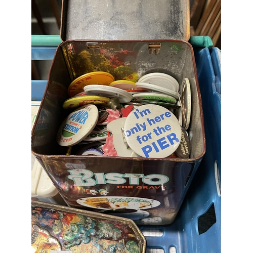 2 - 2 X CRATES OF VINTAGE BAGS, BADGES AND OTHER COLLECTABLES
