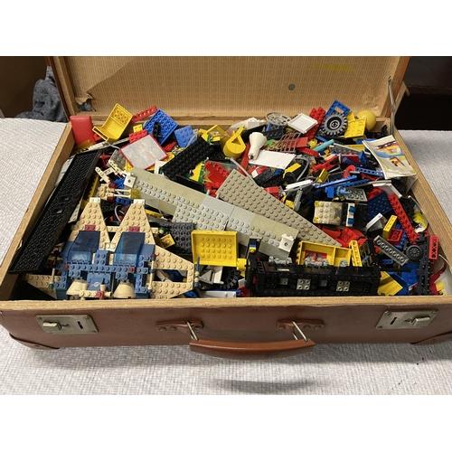 28 - VINTAGE SUITCASE FULL OF LEGO