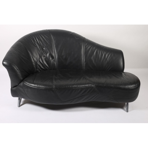 21 - A DESIGNER BLACK HIDE UPHOLSTERED AND WHITE METAL SETTEE the curved back with shaped seat and scroll...