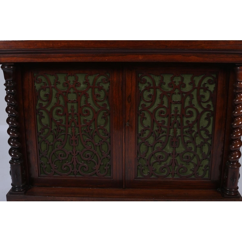 39 - A FINE 19TH CENTURY ROSEWOOD SIDE CABINET the raised superstructure with pierced gallery above a pai...