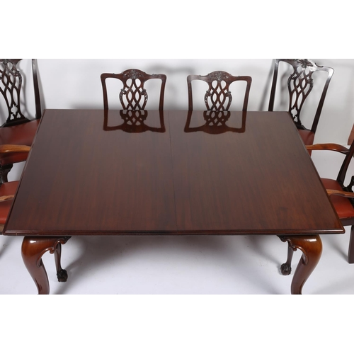 40 - A 19TH CENTURY CHIPPENDALE DESIGN MAHOGANY NINE PIECE DINING ROOM SUITE comprising eight chairs incl...