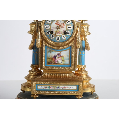 52 - A 19TH CENTURY GILT METAL AND PORCELAIN CLOCK the rectangular arched case surmounted by neo classica...
