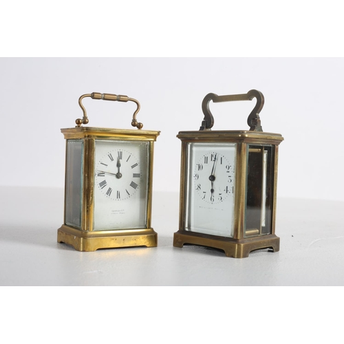 58 - TWO FRENCH BRASS CARRIAGE CLOCKS with enamel dials and Roman numerals