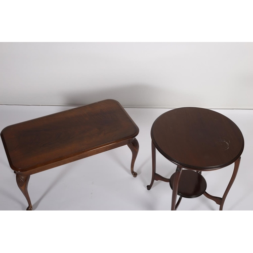 6 - A MAHOGANY COFFEE TABLE of rectangular outline on cabriole legs together with a mahogany circular to...