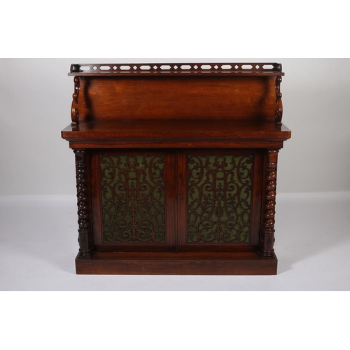 10 - A FINE 19TH CENTURY ROSEWOOD SIDE CABINET the raised superstructure with pierced gallery above a pai...