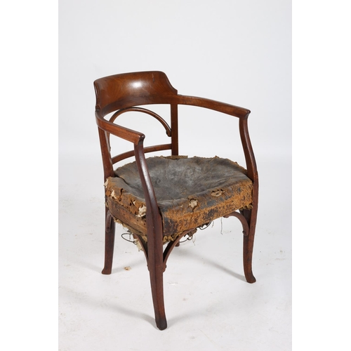 21 - A GOOD 19TH CENTURY BENTWOOD TUB SHAPED LIBRARY CHAIR the curved back and splat with hide upholstere...