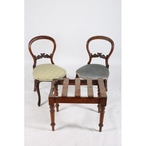 22 - A PAIR OF VICTORIAN MAHOGANY SIDE CHAIRS each with a curved top rail and carved splat with upholster...