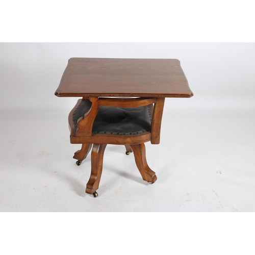 34 - A 19TH CENTURY OAK AND UPHOLSTERED DESK CHAIR the serpentine hinged top above an upholstered panel a...