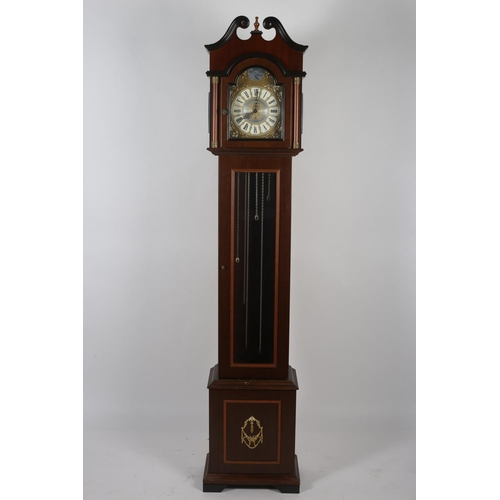 4 - A MAHOGANY LONGCASE CLOCK the swan neck pediment above a glazed door containing a gilt and silvered ...