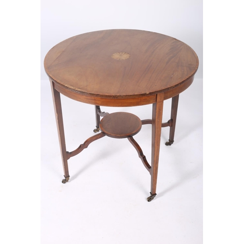 44 - A SHERATON DESIGN MAHOGANY AND SATINWOOD INLAID TABLE the circular top with fan inlaid panel raised ...