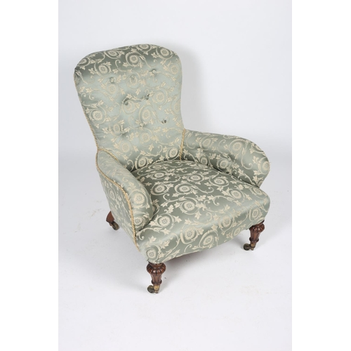45 - A 19th CENTURY MAHOGANY AND UPHOLSTERED BOUDOIR CHAIR the shaped buttoned upholstered back and seat ...