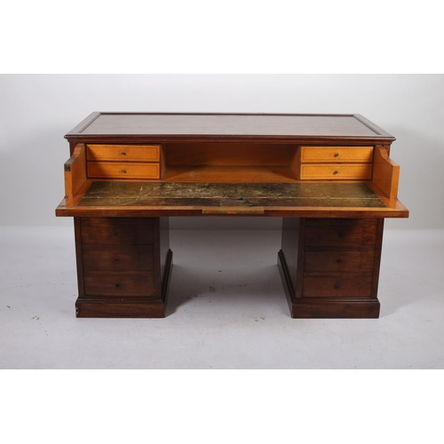 47 - A GOOD 19TH CENTURY MAHOGANY SECRETAIRE STANDING KNEEHOLE DESK the rectangular top above a secretair...