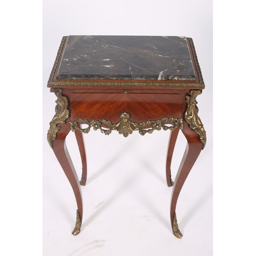 49 - A CONTINENTAL KINGWOOD GILT BRASS MOUNTED AND MARBLE LAMP TABLE of rectangular outline surmounted by...