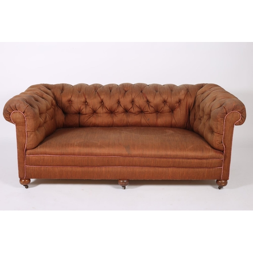 51 - A 19TH CENTURY MAHOGANY AND UPHOLSTERED SETTEE with button upholstered scroll over back and arms on ...