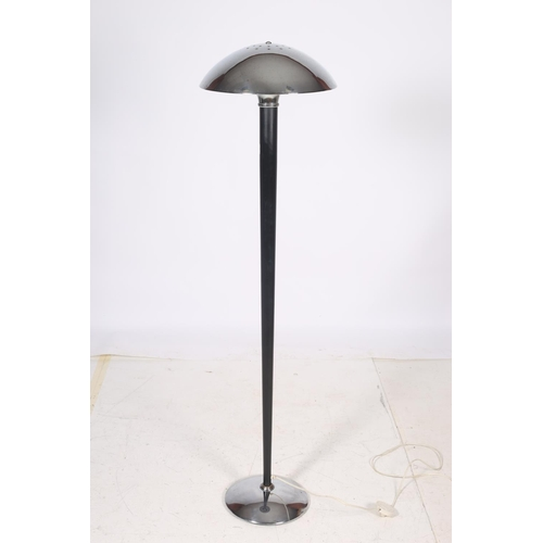 54 - A RETRO CHROME AND BLACK METAL FLOOR STANDARD LAMP the mushroom shade above a cylindrical tapering c...